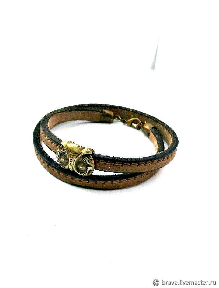 Jewelry for Men handmade. Livemaster - handmade. Buy Bracelet wrapped leather owl for men.Owl