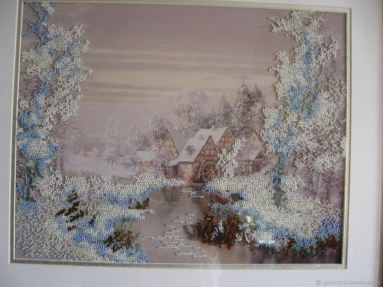 Пейзаж ручной работы. Ярмарка Мастеров - ручная работа. Купить Картина вышита бисером Зима в раме под стеклом. Handmade.