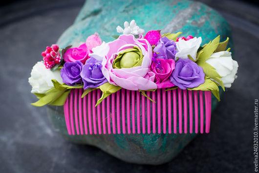 Заколки ручной работы. Ярмарка Мастеров - ручная работа. Купить гребень из цветов. Handmade. Комбинированный, ободок с цветами, ободок с розами