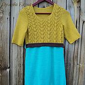 Одежда ручной работы. Ярмарка Мастеров - ручная работа Платье летнее Немного горчицы нарядное вязаное спицами. Handmade.