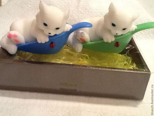 Мыло ручной работы. Ярмарка Мастеров - ручная работа. Купить Забавный котенок. Handmade. Белый, мыло ручной работы, коты