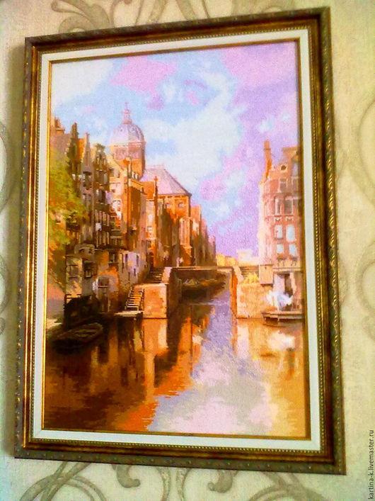 """Город ручной работы. Ярмарка Мастеров - ручная работа. Купить Вышитая картина """"Амстердам"""". Handmade. Вышивка крестом, картина для интерьера"""