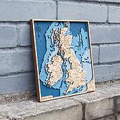 Витражи ручной работы. Ярмарка Мастеров - ручная работа Карта Великобритания деревянная. United Kingdom.. Handmade.