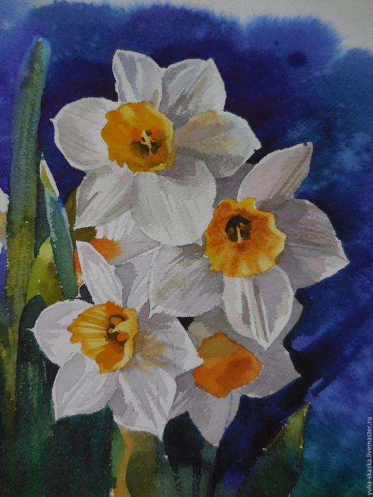 Картины цветов ручной работы. Ярмарка Мастеров - ручная работа. Купить акварель Нарциссы. Handmade. Акварель, подарок на день рождения