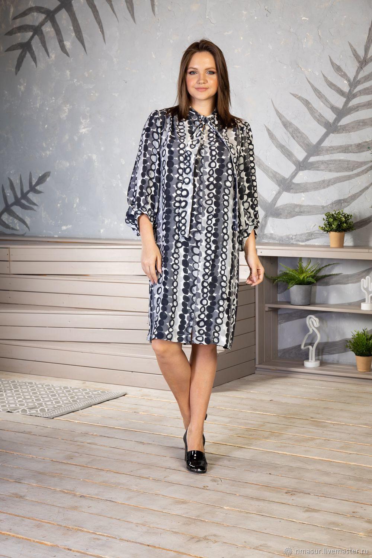 Viscose dress grey peas with tie, Dresses, Novosibirsk,  Фото №1