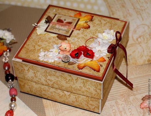 Персональные подарки ручной работы. Ярмарка Мастеров - ручная работа. Купить Коробочка для украшений с открыткой. Handmade. Бежевый, коробка для подарка