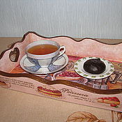"""Для дома и интерьера ручной работы. Ярмарка Мастеров - ручная работа Поднос """"Завтрак для любимой"""". Handmade."""