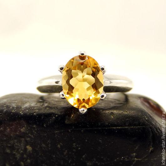 Кольца ручной работы. Ярмарка Мастеров - ручная работа. Купить Серебрянное кольцо цитрин 9х7 мм. Handmade. Кольцо серебро