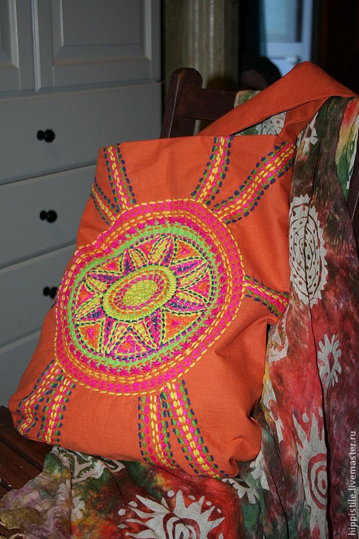 Сумки и аксессуары ручной работы. Ярмарка Мастеров - ручная работа. Купить сумка из хлопка с ручной вышивкой Индейское солнце. Handmade.