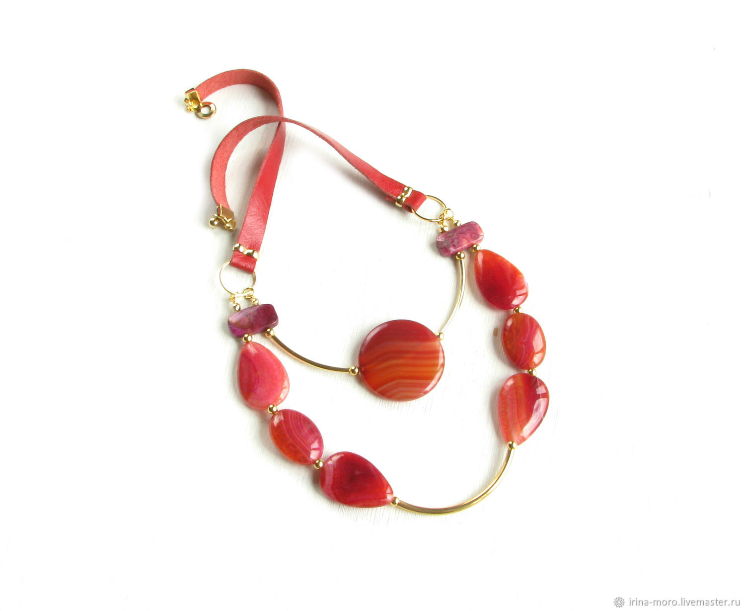 Red necklace with agates 'Autumn contrasts' agate decoration, Necklace, Moscow,  Фото №1