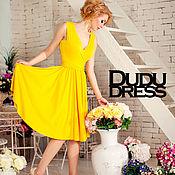 Одежда ручной работы. Ярмарка Мастеров - ручная работа Короткое платье с юбкой-солнце жёлтое. Handmade.