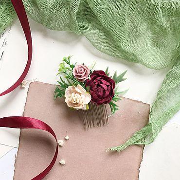 Украшения ручной работы. Ярмарка Мастеров - ручная работа Маленький цветочный гребень для прически, гребень для невесты. Handmade.