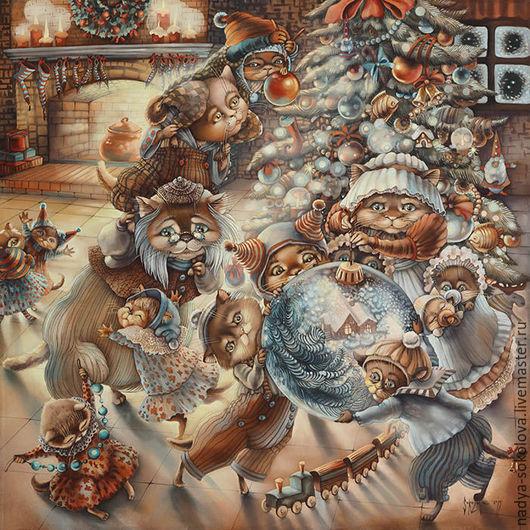 Фантазийные сюжеты ручной работы. Ярмарка Мастеров - ручная работа. Купить Скоро Новый год. Handmade. Коричневый, коты, Кошки, котята