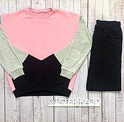 Одежда ручной работы. Ярмарка Мастеров - ручная работа Комплект  Треугольники (розово-черный). Handmade.