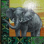 """Для дома и интерьера ручной работы. Ярмарка Мастеров - ручная работа Доска разделочная """"Путь в Африку"""", дерево, декупаж. Handmade."""