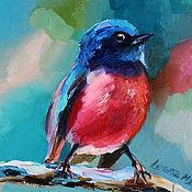 Картины и панно handmade. Livemaster - original item Oil painting with a bird 15/15 cm.. Handmade.