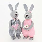 Мягкие игрушки ручной работы. Ярмарка Мастеров - ручная работа Ситцевые зайцы – подарок на ситцевую свадьбу, годовщину свадьбы. Handmade.
