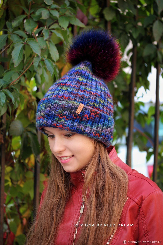 Осенняя вязаная шапка из мериноса с меховым помпоном, модная шапка, Шапки, Москва,  Фото №1
