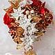 Свадебные цветы ручной работы. Брошь-букет невесты КРАСНЫЙ + АЙВОРИ. Марина Бруня. Ярмарка Мастеров. Свадебный подарок