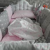 Комплекты одежды ручной работы. Ярмарка Мастеров - ручная работа Полный постельный комплект на детскую кровать с 6 предметов, 100%хлопо. Handmade.