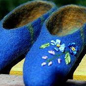 """Обувь ручной работы. Ярмарка Мастеров - ручная работа Тапочки валяные """"Незабудка"""" из овечьей шерсти. Handmade."""