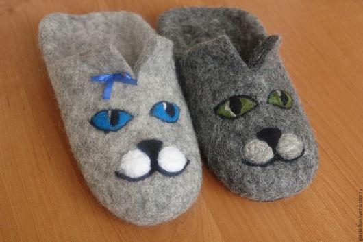 Обувь ручной работы. Ярмарка Мастеров - ручная работа. Купить Котята. Handmade. Серый, ручная работа, подарок, домашняя обувь