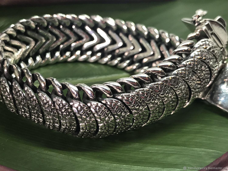 Мужской браслет серебряный массивный из 925 пробы броненосец