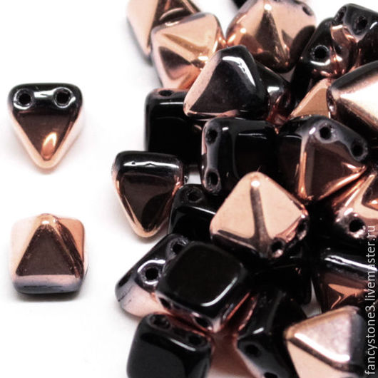 Для украшений ручной работы. Ярмарка Мастеров - ручная работа. Купить 15шт Чешские бусины Пирамидки 6мм, Gold Capri Jet Pyramids Czech beads. Handmade.