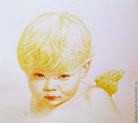 Люди, ручной работы. Ярмарка Мастеров - ручная работа. Купить Портрет ангела. Handmade. Бежевый, портрет по фото, портрет, акварель