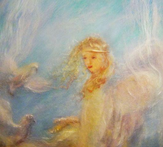 """Фантазийные сюжеты ручной работы. Ярмарка Мастеров - ручная работа. Купить Картина """"Ангелы с нами рядом"""". Handmade. Картина"""