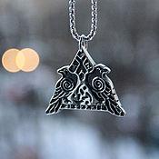 Украшения handmade. Livemaster - original item Pendant / Amulet Amber Hugin and Munin of jewelry steel. Handmade.