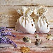 Для дома и интерьера ручной работы. Ярмарка Мастеров - ручная работа Льняные мешочки молочного цвета с кружевом ручной работы. Handmade.
