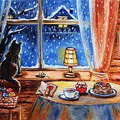 Картины и панно ручной работы. Ярмарка Мастеров - ручная работа Однажды зимним вечером картина. Handmade.