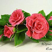 Украшения ручной работы. Ярмарка Мастеров - ручная работа Заколка-автомат с розовыми розами. Handmade.