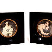 Винтаж handmade. Livemaster - original item Reproduction of antique miniature pictures of the 19th century. Handmade.