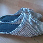 Обувь ручной работы handmade. Livemaster - original item Knitted bedroom Slippers - flip flops ( cotton ). Handmade.