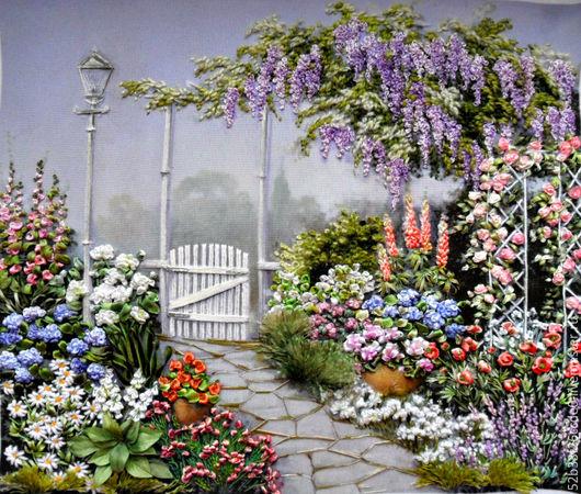 Пейзаж ручной работы. Ярмарка Мастеров - ручная работа. Купить садовый пейзаж. Handmade. Комбинированный, шёлковые ленты
