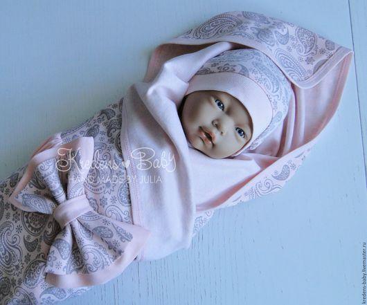 """Для новорожденных, ручной работы. Ярмарка Мастеров - ручная работа. Купить Комплект на выписку """"Персиковый"""". Handmade. Пейсли, слип"""