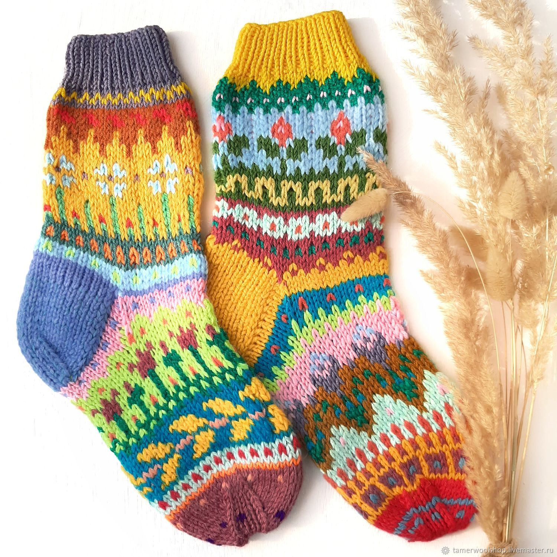 Вязаные жаккардовые носки с цветочками. Разноцветные носки в подарок, Носки, Москва,  Фото №1