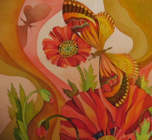 """Картины цветов ручной работы. Ярмарка Мастеров - ручная работа. Купить Батик панно """"Маковое поле."""". Handmade. Лето"""