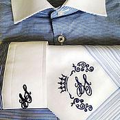 Одежда ручной работы. Ярмарка Мастеров - ручная работа Вышивка инициалов на мужской рубашке . Монограмма. Handmade.