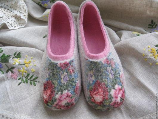 Обувь ручной работы. Ярмарка Мастеров - ручная работа. Купить Тапочки Лиза. Handmade. Комбинированный, тапочки женские