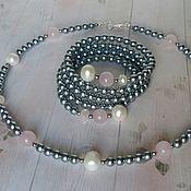 Jewelry Sets handmade. Livemaster - original item Set Silver pink. Handmade.