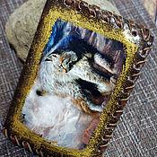 Канцелярские товары handmade. Livemaster - original item Passport cover Lynx 2. Handmade.
