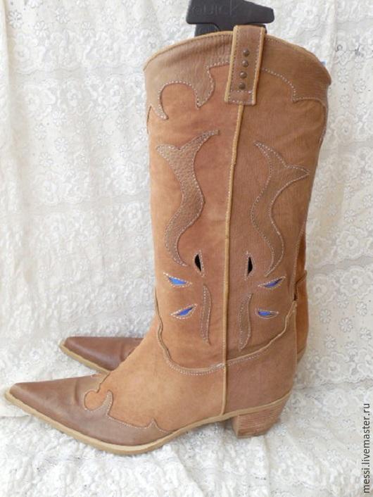 Винтажная обувь. Ярмарка Мастеров - ручная работа. Купить Винтажные женские летние сапоги, кожа, нубук, р.40. Handmade.
