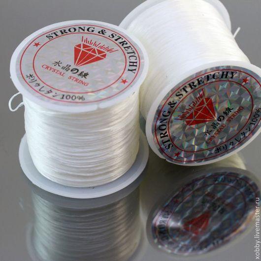 Эластичная нить белого цвета - круглая резинка диаметром 1 мм для плетения браслетов на катушке