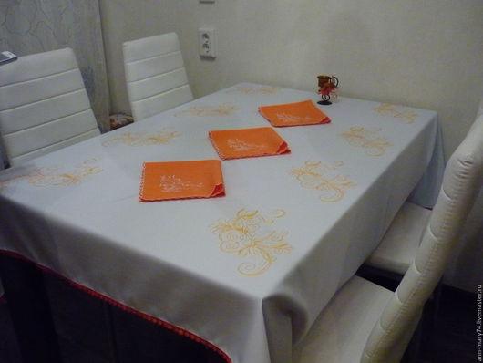 """Текстиль, ковры ручной работы. Ярмарка Мастеров - ручная работа. Купить Набор скатерть и 6 салфеток  """" Апельсин"""". Handmade."""