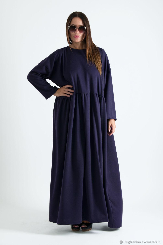 Теплое платье макси, Фиолетовое длинное платье, Платье в пол широкое, Платье из хлопка, ЕУГ