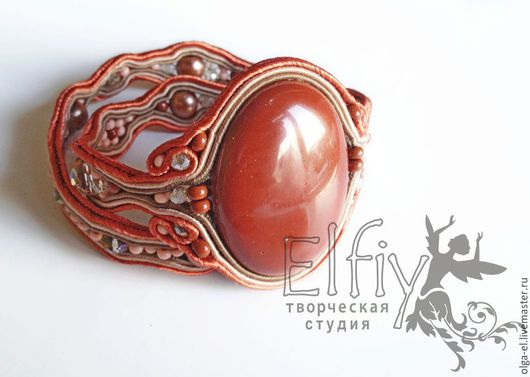 Сутажный  браслет и украшение на шарф с яшмой