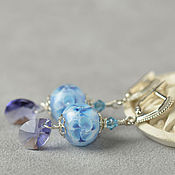 Украшения handmade. Livemaster - original item Earrings Blue watercolor lampwork glass 925 sterling silver PR. Handmade.
